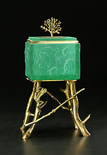 Frog Box by Georgia Pozycinski and Joseph Pozycinski (Art Glass & Bronze Sculpture)