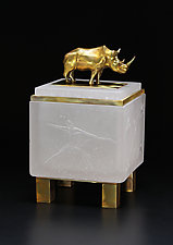 White Rhino Box by Georgia Pozycinski and Joseph Pozycinski (Art Glass & Bronze Sculpture)