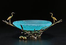 Aqua Sandhill Nest Bowl by Georgia Pozycinski and Joseph Pozycinski (Art Glass & Bronze Sculpture)