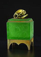 Chameleon Box by Georgia Pozycinski and Joseph Pozycinski (Art Glass & Bronze Sculpture)