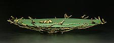 Oval Nest Bowl in Green by Georgia Pozycinski and Joseph Pozycinski (Art Glass & Bronze Sculpture)