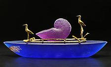 Nautilus Boat II by Georgia Pozycinski and Joseph Pozycinski (Art Glass Sculpture)