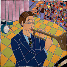 Trumpet Player by Jonathan I. Mandell (Mixed-Media Wall Hanging)