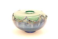 Turquoise Overlay Seed Bowl by Dierk Van Keppel (Art Glass Bowl)