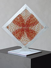Red Fused Square 3 by Dierk Van Keppel (Art Glass Sculpture)