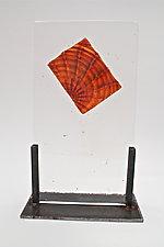 Cast Glass Amber Optic Inclusion by Dierk Van Keppel (Art Glass Sculpture)