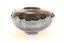 Dark Green and Black Overlay Bowl by Dierk Van Keppel (Art Glass Bowl)