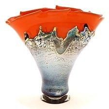 Silver Red Overlay Vase by Dierk Van Keppel (Art Glass Vessel)