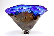 Cobalt Optic with Black Overlay Bowl by Dierk Van Keppel (Art Glass Vessel)