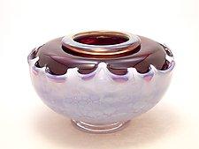 Opal Lilac and Purple Overlay Seed Bowl II by Dierk Van Keppel (Art Glass Vessel)