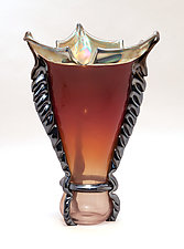Aurora and Gold Jester Vase by Dierk Van Keppel (Art Glass Vase)