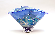 Silver Blue with Silver Blue overlay by Dierk Van Keppel (Art Glass Bowl)