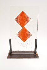 Moire Effect in Red by Dierk Van Keppel (Art Glass Sculpture)