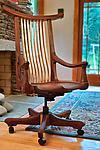 Tucked Arm Swivel Desk Chair by Richard Laufer (Wood Chair)