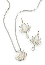 Lotus With Pearl Drop Pendant & Earrings: Silver by Thea Izzi (Silver & Pearl Pendant & Earrings)