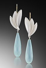 Bird of Paradise Aqua Chalcedony drops by Thea Izzi (Gold, Silver & Stone Earrings)