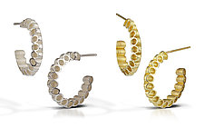 Ruffle Hoop Earrings by Thea Izzi (Gold or Silver Earrings)