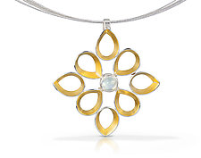 Ravenna Pendant by Thea Izzi (Gold, Silver & Stone Necklace)