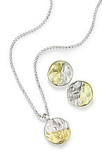 Mixed Reticulated Circle Jewelry by Thea Izzi (Gold & Silver Earrings)