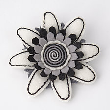 Daisy Felt Flower Pin by Renee Roeder-Earley (Felted Brooch)