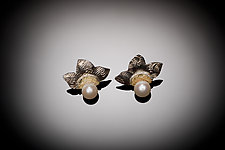 Flower Pearls by Louise Norrell (Gold, Silver & Pearl Earrings)
