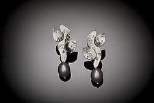 Leafy Pearls by Louise Norrell (Silver & Pearl Earrings)