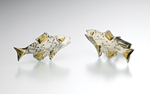 Trout Cuff Links by Louise Norrell (Silver & Gold Cuff Links)