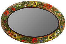 Floral Oval Mirror by Sticks (Wood Mirror)