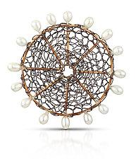 Bronze Circle Brooch by Randi Chervitz (Silver, Bronze & Pearl Brooch)