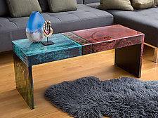 Bella Bella Coffee Table Bench: Rust Stain by Lara Moore (Mixed-Media Bench)