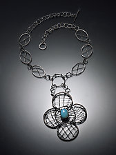Royal Clover Necklace with Chalcedony by Randi Chervitz (Silver & Stone Necklace)