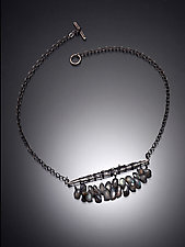 Crocheted Bar Necklace with Diamonds and  Labradorite by Randi Chervitz (Silver & Stone Necklace)