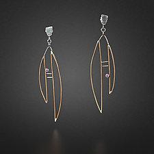 Bronze Earrings with Pink Rubies by Randi Chervitz (Bronze Earrings)
