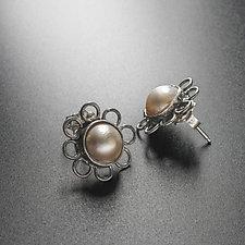 Pearl Flower Earrings by Randi Chervitz (Silver & Pearl Earrings)