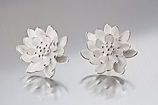 Silver Waterlily Earrings by Elise Moran (Silver Earrings)