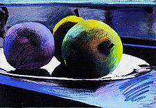 Three Apples Blue by Jane Sterrett (Giclee Print)