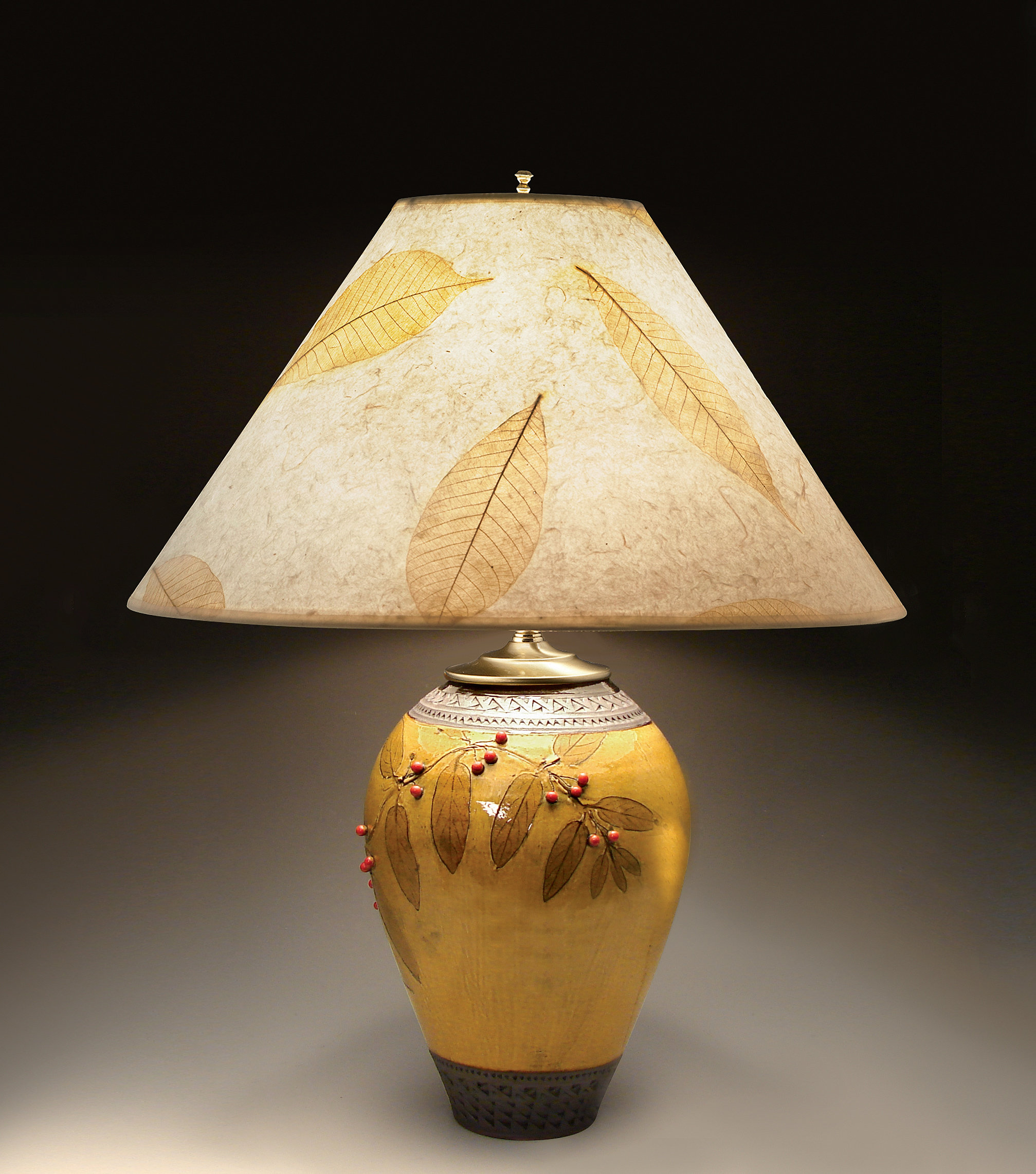 Ceramic table lamps red - Small Amber Lamp With Red Berries By Suzanne Crane Ceramic Table Lamp Artful Home