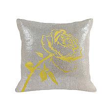 Gilded Linen Metallic Rose Pillow by Helene  Ige (Linen Pillow)