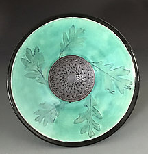 Oak Leaf Medallion Bowl by Suzanne Crane (Ceramic Bowl)