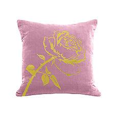 Gilded Luxe Metallic Rose Pillow by Helene  Ige (Velvet Pillow)
