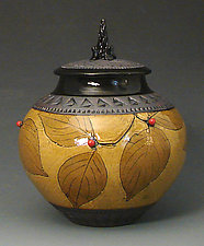 Small Amber Jar with Red Berries by Suzanne Crane (Ceramic Vessel)