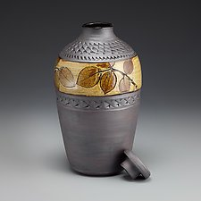Whiskey Jar with Amber Rose Leaf Label by Suzanne Crane (Ceramic Vessel)