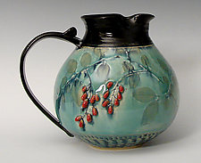 Chubby Pitcher with Red Berries by Suzanne Crane (Ceramic Pitcher)