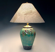 Small Celadon Lamp with Red Berries by Suzanne Crane (Ceramic Table Lamp)