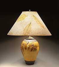 Small Amber Lamp with Red Berries by Suzanne Crane (Ceramic Table Lamp)