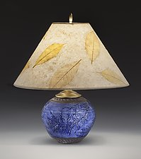 Round Blue Cedar Table Lamp by Suzanne Crane (Ceramic Table Lamp)