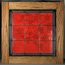 Japanese Maple Tile Mural in Poppy Red by Suzanne Crane (Ceramic Wall Sculpture)