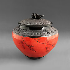 Double Bird Jar in Poppy Red by Suzanne Crane (Ceramic Jar)