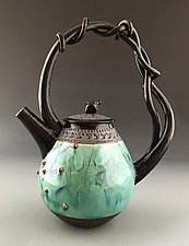 Red Oak Vine-Handled Teapot by Suzanne Crane (Ceramic Teapot)