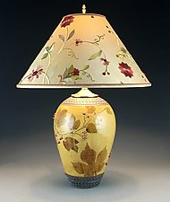 Japanese Hops Lamp with Red Berries and Embroidered Shade by Suzanne Crane (Ceramic Table Lamp)